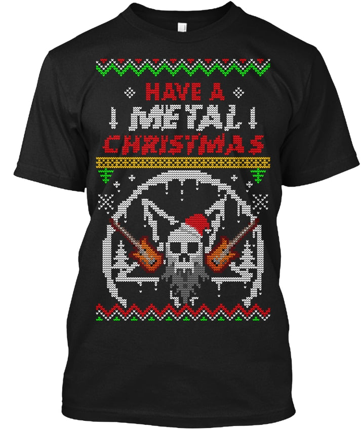 Metal Christmas Ugly Sweater T-Shirt (2 Colors)