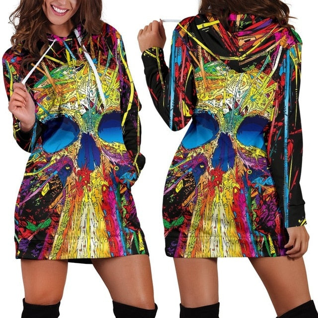 Colorful Skull Hoodie All Over Print Extra Long Dress