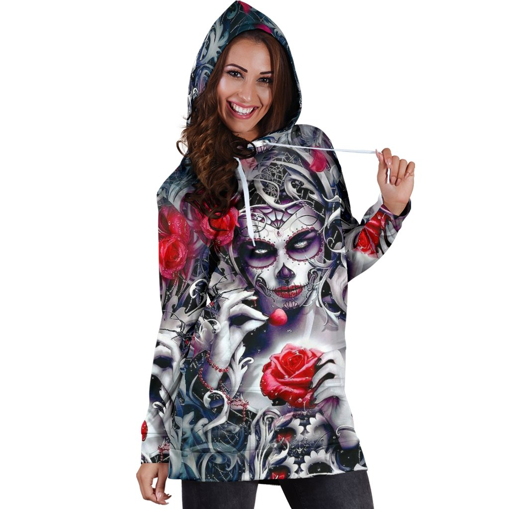 Sugar Skull Hoodie All Over Print Extra Long Dress