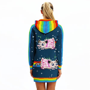 Sick Kitty Hoodie All Over Print Extra Long Dress