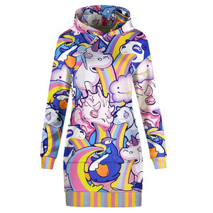 Puking Animals Hoodie All Over Print Extra Long Dress