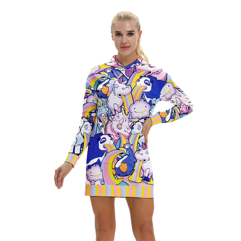 Rainbow Puke Animals Hoodie All Over Print Extra Long Dress