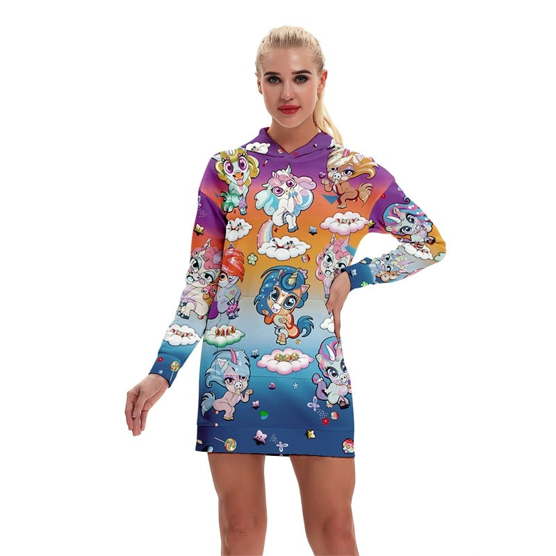 Unicorn Hoodie All Over Print Extra Long Dress (Variant 1)