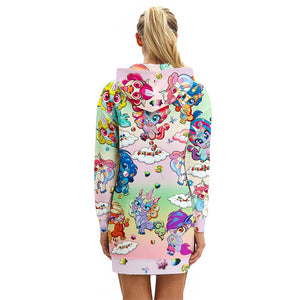 Unicorn Hoodie All Over Print Extra Long Dress (Variant 2)