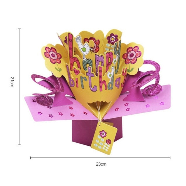 3D Pop Up Gift Card (4 Designs) Roses, Birthday, Newborn