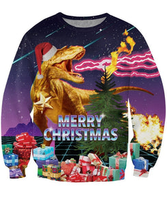 Merry Christmas T-Rex Santa All Over Print Sweater