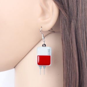 Blood Bag IV Earrings