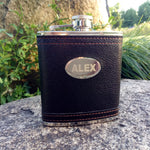 Custom Laser Etched Leather Stainless Steel Hip Flask (3 colors/sizes)