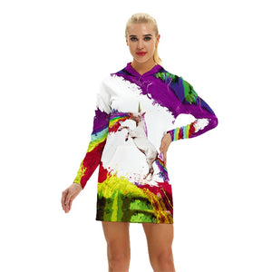 Unicorn Hoodie All Over Print Extra Long Dress (Variant 3)