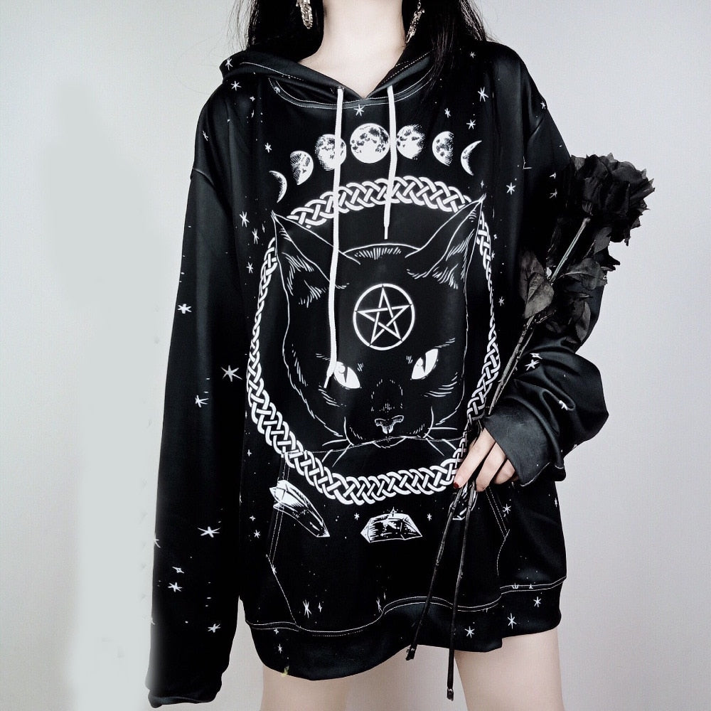 Black Cat Pentagram Witch & Moon Pull Over Hoodie