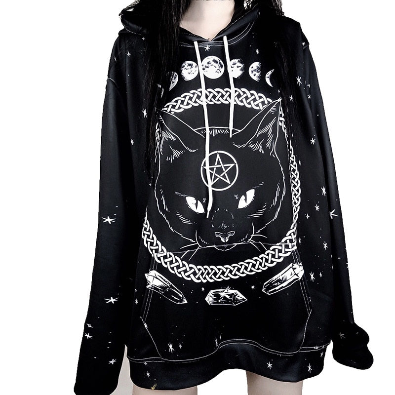 Black Cat Pentagram Witch & Moon Pull Over Hoodie (limited edition)