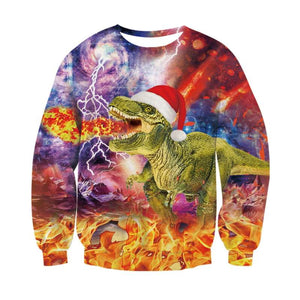 T-Rex Santa All Over Print Sweater