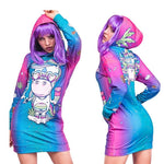 Blue/Pink Unicorn Hoodie All Over Print Extra Long Dress