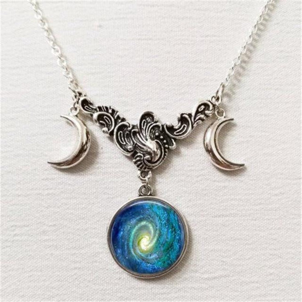 Triple Lunar Goddess Full Moon Pendant Necklace (20 Variants)