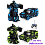 XL SUV Gesture Sensing Remote Control Robot One Button Transformation Car Toy (Blue & Green)