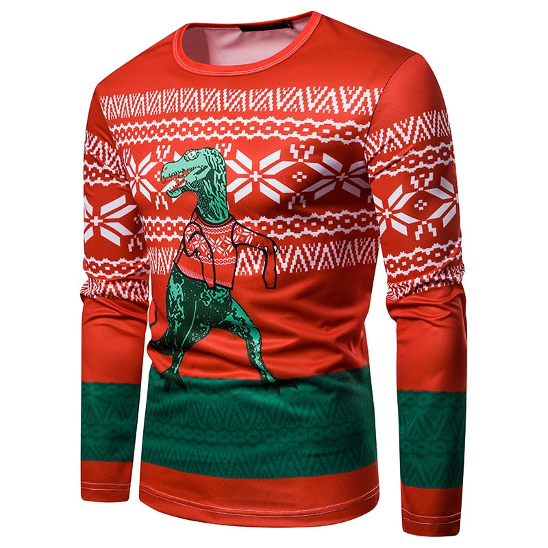 T-Rex Ugly Christmas Sweater Long Sleeve T-Shirt
