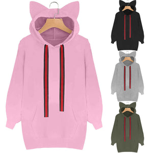 Casual Kitty Pull Over Hoodie With Ears (4 Colors)
