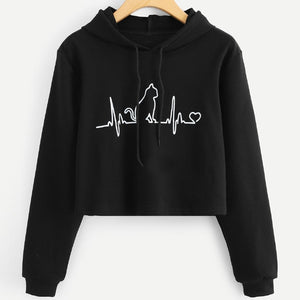 Kitty Heartbeat Crop Top Hoodie