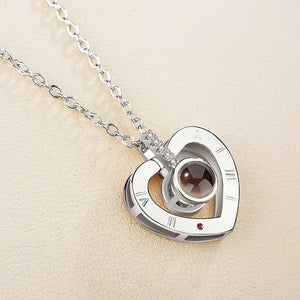 "Personalized Text or Photo ""I Love You"" Forever 100 Language Micro Projection Necklace (26 Designs)"