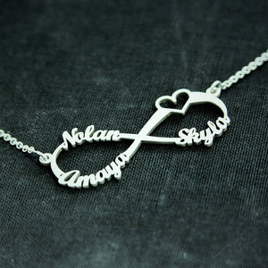Custom Laser Cut Infinite Love Necklace Up To Four Names