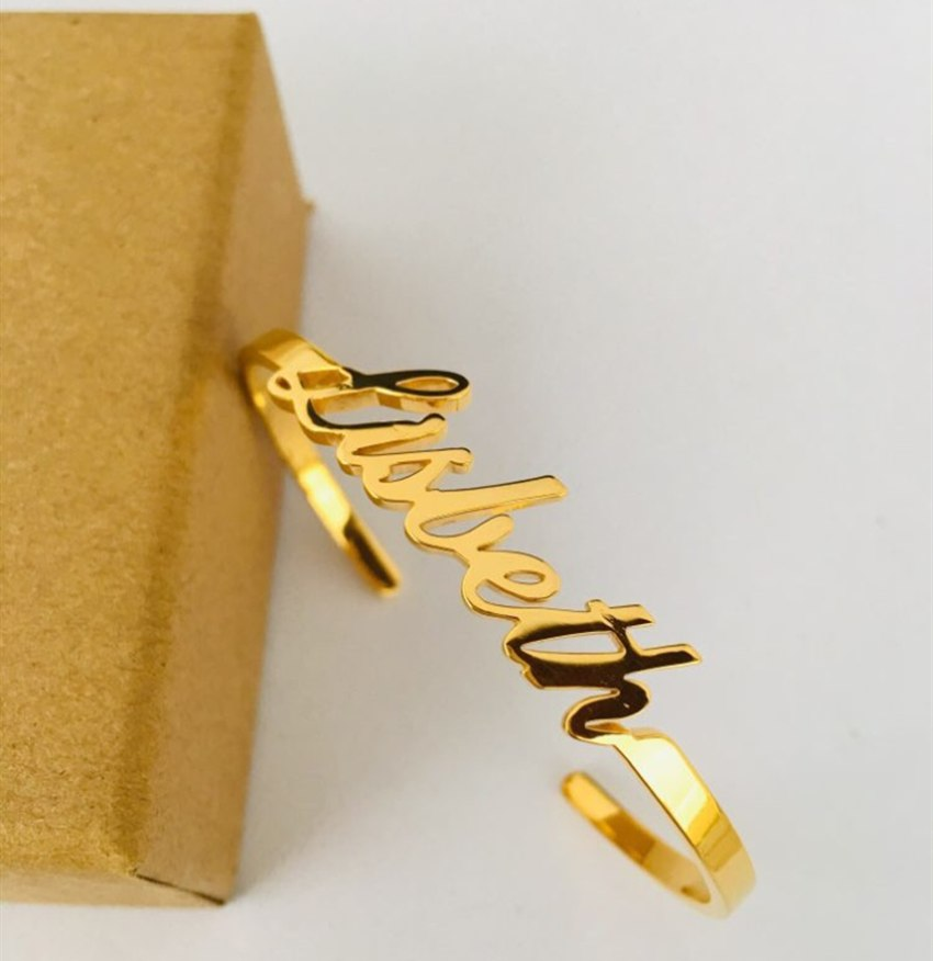 Custom Laser Cut Infinite Name Bangle Bracelet