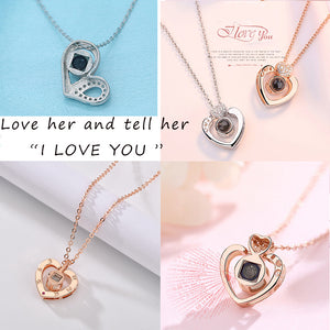 "Custom Text ""I Love You"" Forever 100 Language Micro Projection Necklace (7 Designs)"