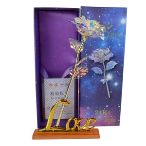 "24k ""Galaxy"" Gold Rose ""Love You For Life"" Love Optional Light or Display Stand"
