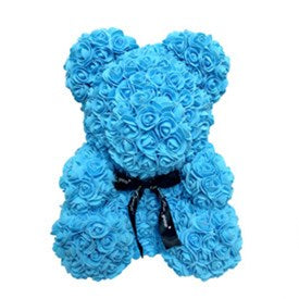 Purple / Blue Enchanted Forever Rose Teddy Bear Plush