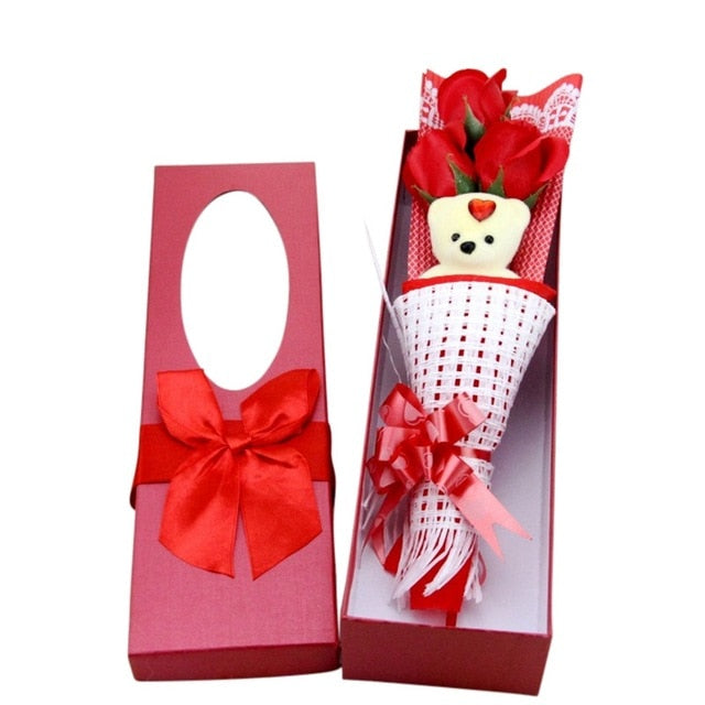 Romantic Artificial Rose Bear Bouquet (4 Colors)