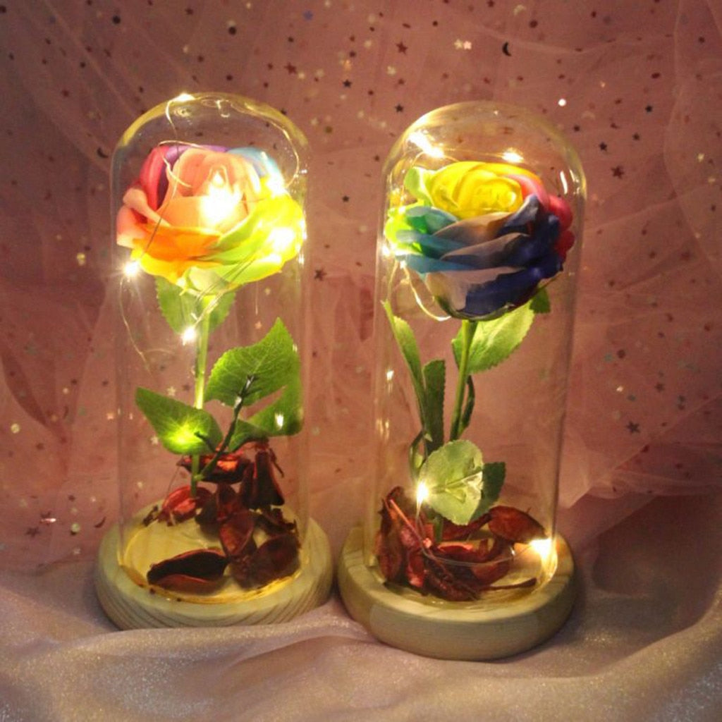 Rainbow Enchanted Rose LED Glass Display