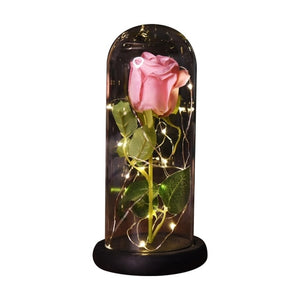 Enchanted Rose LED Glass Display (Pink or Yellow)