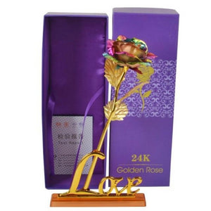 "Rainbow 24k ""Galaxy"" Gold Rose ""Love You For Life"" Optional Display Stand"