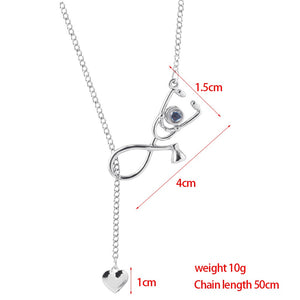 "Stethoscope ""I Love You"" Forever 100 Language Micro Projection Necklace"