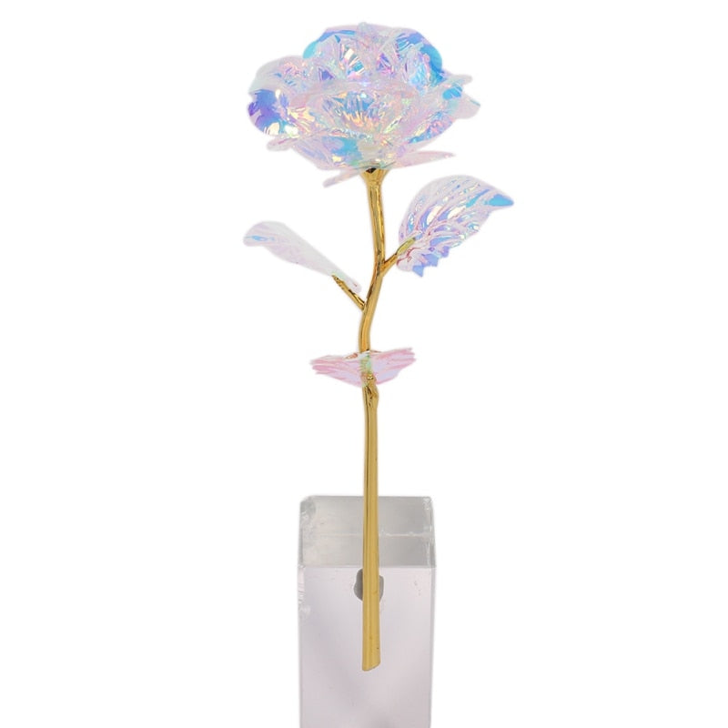 "Pink 24k ""Galaxy"" Gold Rose ""Love You For Life"" Love Optional Light or Display Stand"