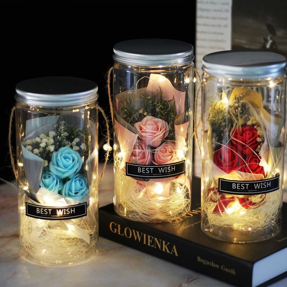 Mini Mason Jar Bouquet Enchanted Rose LED Display (3 Colors)