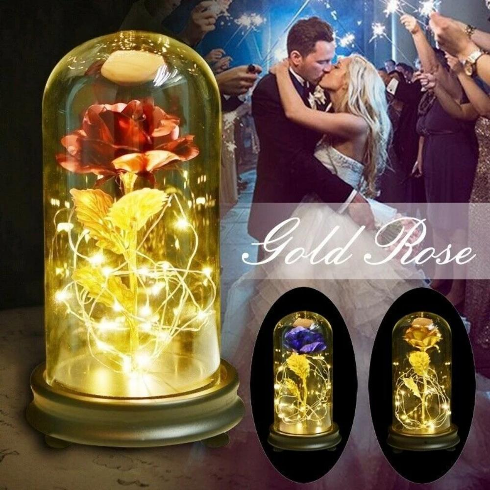 24k Enchanted Rose LED Glass Display Red Blue Gold