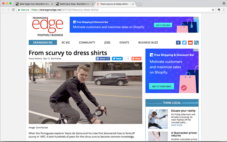 Local business site Okanagan Edge Features 6AM WorkShirts