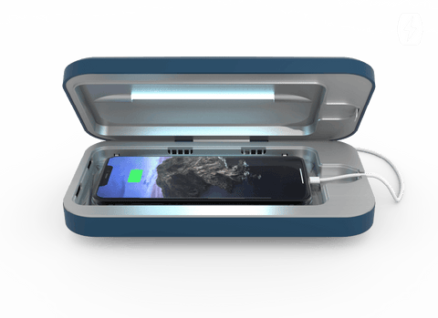 A PhoneSoap sanitizes a cell phone using UV light