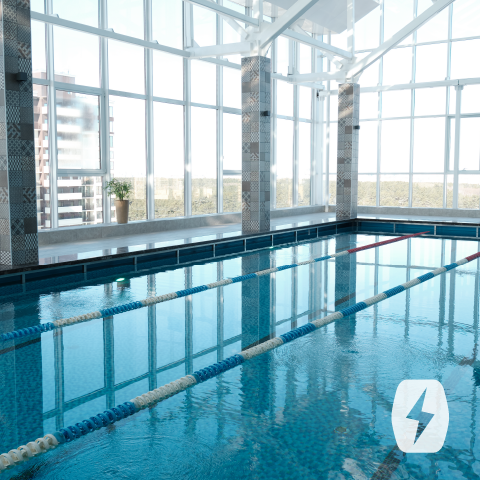 A pool enclosed in glass