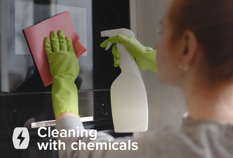 Clean your microwave with chemicals