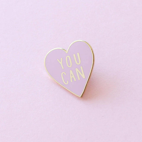 "Pink heart pin saying ""you can"""