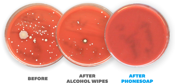 Laboratory test results show a dirty petri dish before using a PhoneSoap, a less dirty petri dish after using alcohol wipes and a clean petri dish after using PhoneSoap.