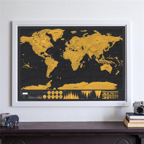 Framed world map for tracking traveling