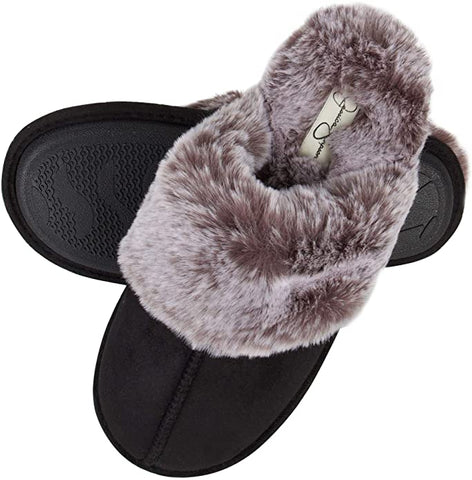 Fuzzy black slippers