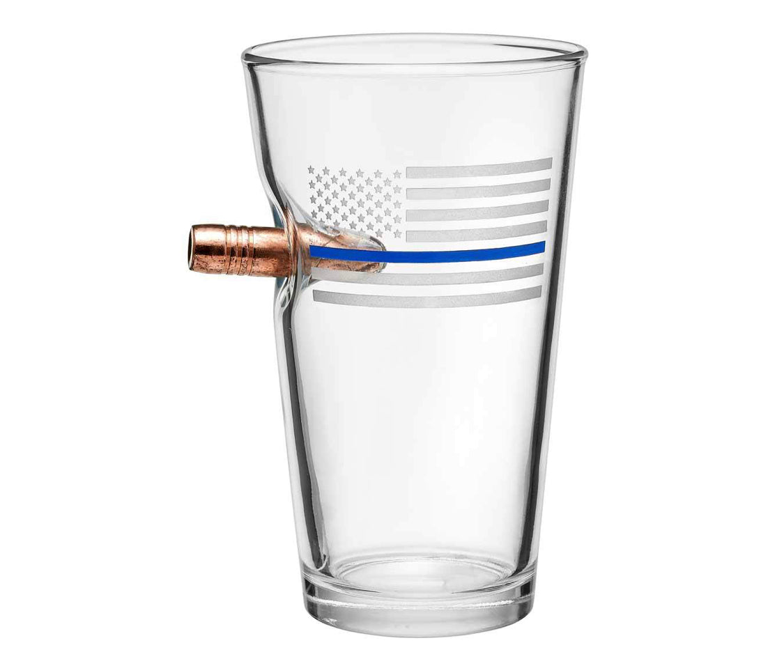 "Thin Blue Line Etched ""Bulletproof"" Glass"