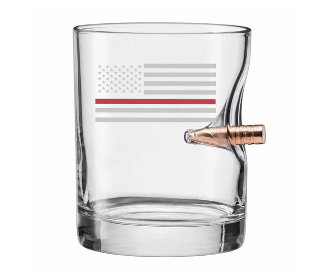 "Thin Red Line Etched ""Bulletproof"" Glass"