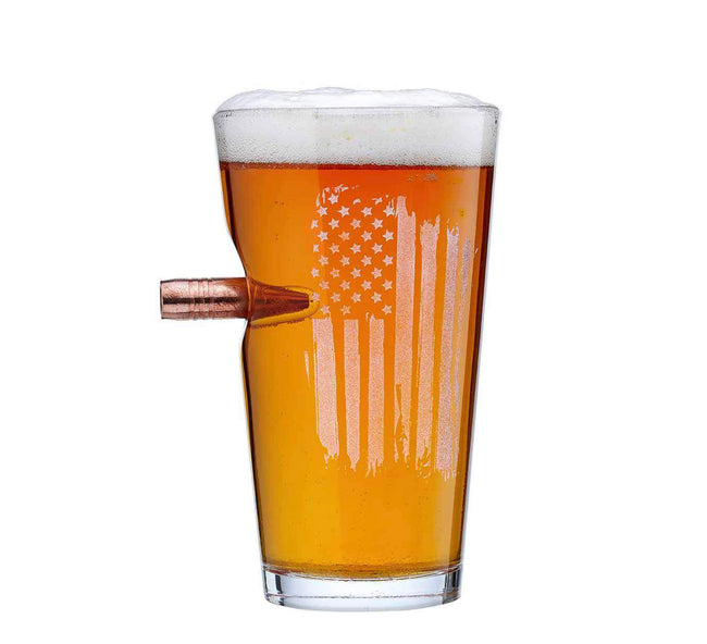 "Patriotic pint Etched ""Bulletproof"" beer Glass with real bullet 16oz"