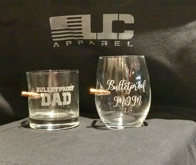 Bulletproof Mom and Dad Etched 11oz Rocks Glass & 15oz Wine Glass