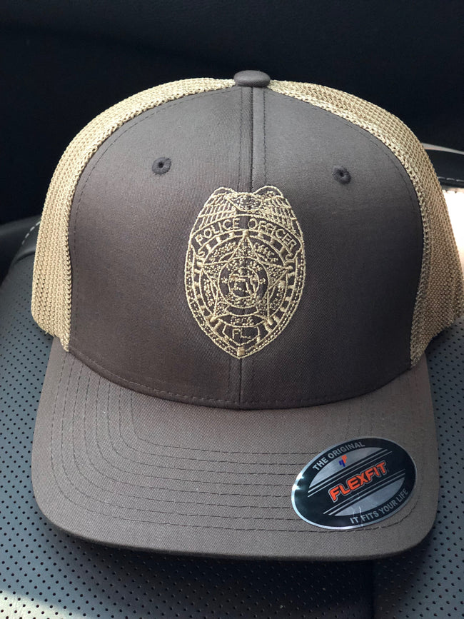 LEO Miami Dade Police Trucker Snapback Hat with regular county badge (Brown/Tan Hat)