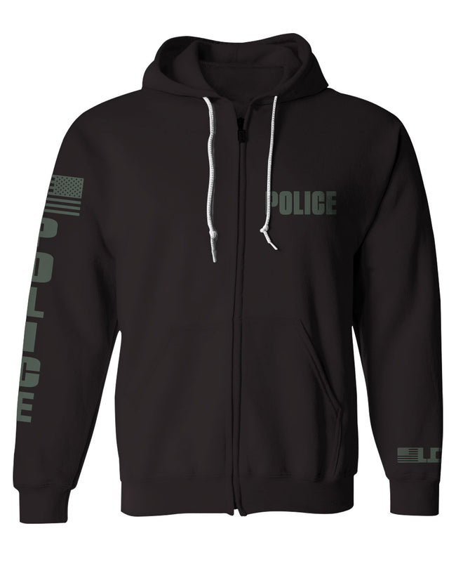 LEO Long Sleeve POLICE Zip Hoodie (Black and OD)